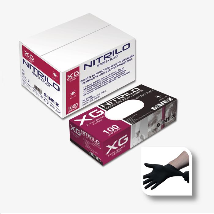 BLACK Powder Free Nitrile SANTEX NITRIFLEX. Ref.GD18