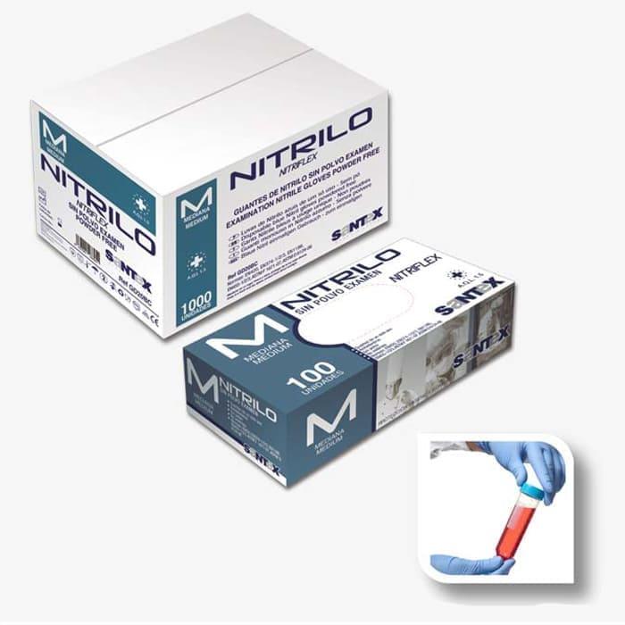 Guantes de nitrilo en color azul